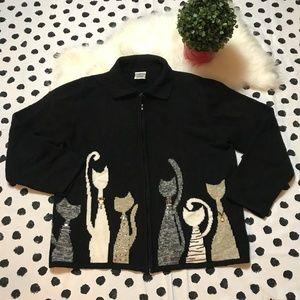 ALLISON DALEY Womens CAT Sweater Cardigan Jacket L